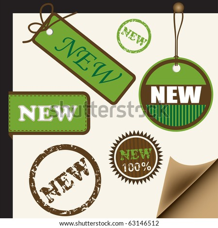 Ribbons, tags and stamps for new items, vector - stock vector
