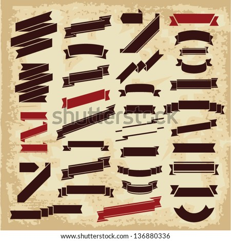 Ribbons vector. Retro ribbons banners collection. Vintage ribbons. - stock vector