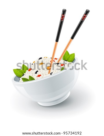 rice in plate with chinese chopsticks vector illustration isolated on white background - stock vector
