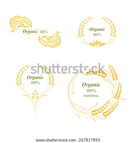 Rice logo, symbol, grain organic natural product, concept vector illustration