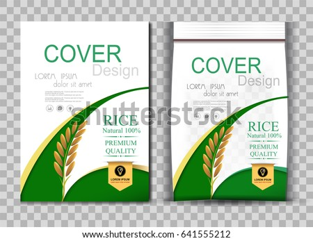 Rice Package Thailand food Logo Products and Fabric Background Thai Arts, banner and poster template design rice food