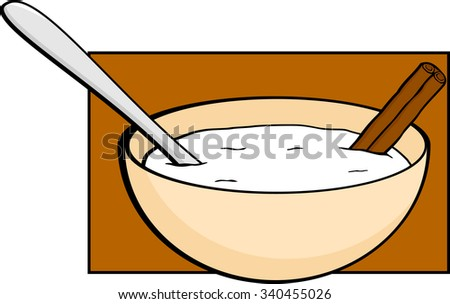 rice pudding with cinnamon - stock vector