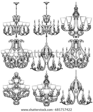 Rich baroque classic chandelier set luxury stock vector 685757422 rich baroque classic chandelier set luxury decor accessory design vector illustration sketch aloadofball Images