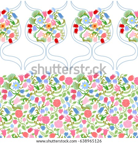 Rich damask pattern with spring bouquets. Seamless vector border with roses and tulips on white background.