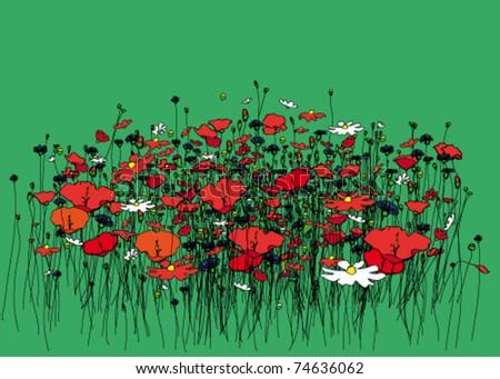 Rich meadow. - stock vector