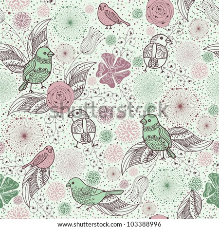 rich pattern with birds and flowers - stock vector