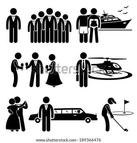 Rich People High Society Expensive Lifestyle Activity Stick Figure Pictogram Icon Cliparts - stock vector