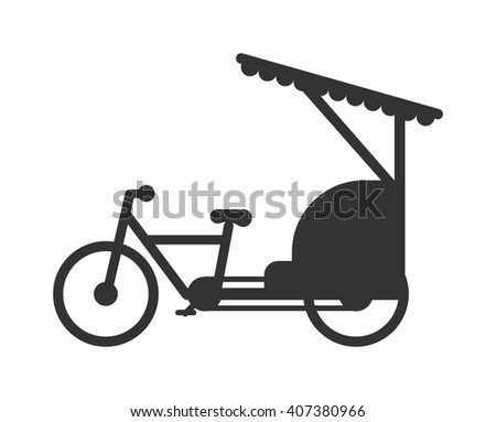 Rickshaw indonesia jakarta taxi travel transportation icon flat vector illustration. Rickshaw in retro style taxi transport and rickshaw wheel tourism. Traditional india rickshaw silhouette cycle cab. - stock vector