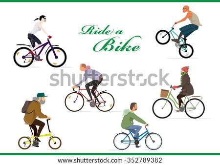 Ride a bike. Go green - stock vector