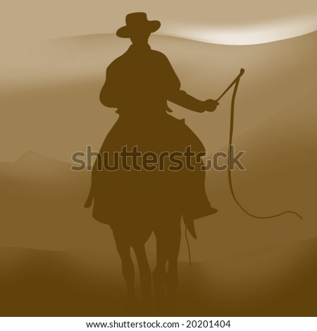 Rider in the far wild country - stock vector