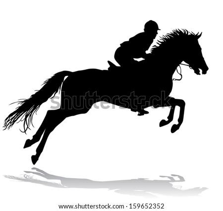 Rider. Jockey riding a horse. Horse races. Competition.  - stock vector