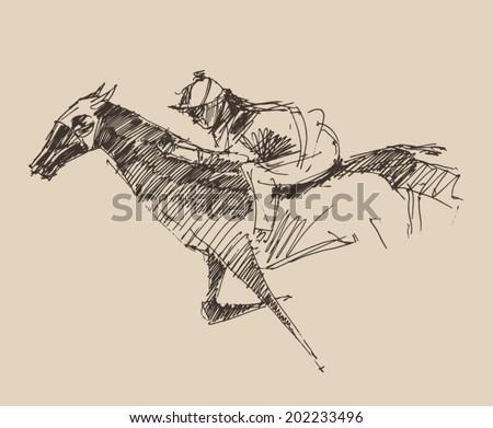 Rider on a horse (jockey) engraved retro style, hand drawn, sketch - stock vector