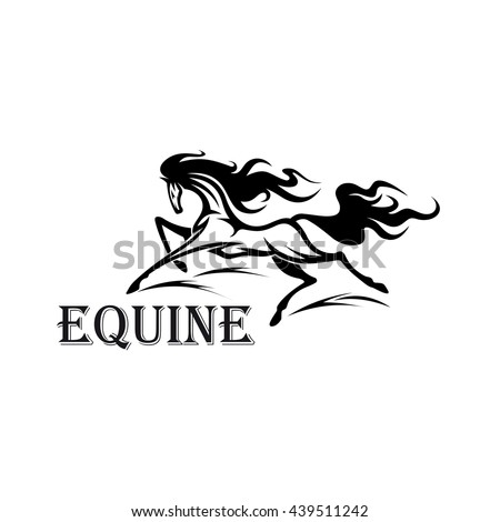 Riderless strong andalusian stallion running with flying curly mane and tail. Great for equestrian sport, horse show or riding club design - stock vector