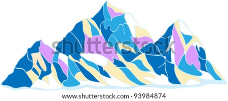 Ridge Mountains, three snow-capped peaks in the decorative color on a white background - stock vector