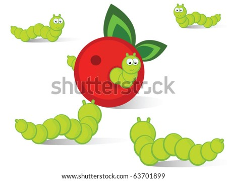 Ridiculous caterpillars will run together to an apple. Vector, isolated. A comics.