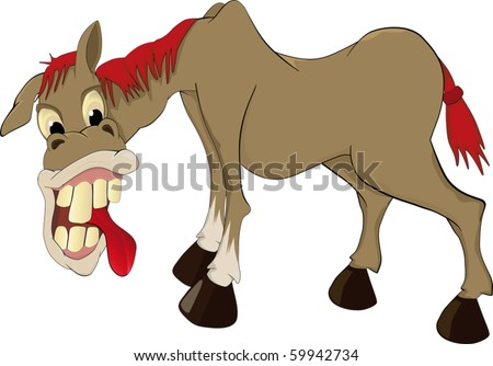 Ridiculous horse - stock vector