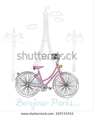 Riding a bike in style, Romantic postcard from Paris - stock vector