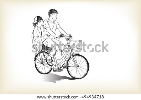 Line Drawing Boy : Continues line drawing boys hit beduk stock vector
