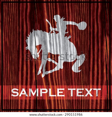 Riding cowboy silhouette painted on wooden board with white paint - stock vector