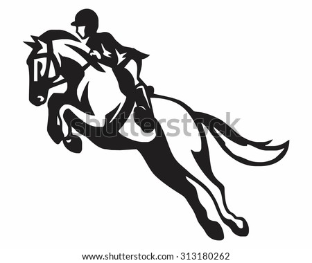riding silhouette - stock vector