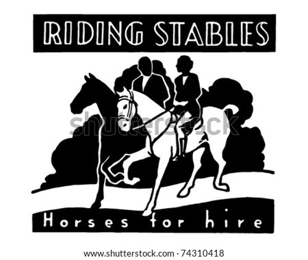 Riding Stables - Retro Ad Art Banner - stock vector