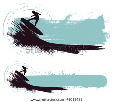 riding wave with grunge horizontal banner - stock vector