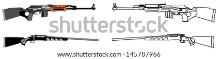 Rifle isolated on white background vector,kalashnikov rifle ,deadly handgun, dangerous weapon, black army and hunting firearm, world war 2, anti terrorism, aggression, arm, military machine,automatic  - stock vector