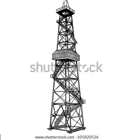 Rig for exploration and drilling wells for oil production. Vector illustration. - stock vector