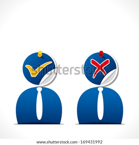 right and wrong sign on businessmen face background vector - stock vector