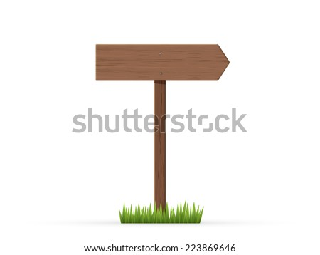 Right arrow road sign on grass - stock vector