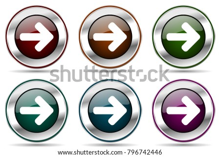 Right arrow vector icon set. Silver metallic chrome border icons for web design and smartphone applications