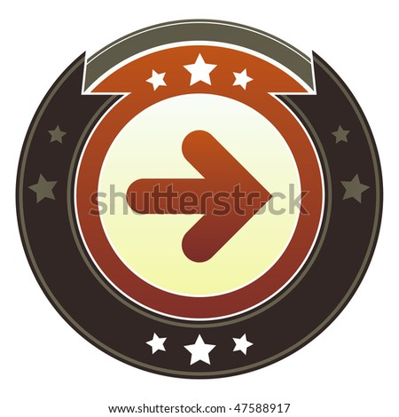 Right directional arrow icon on round red and brown imperial vector button with star accents suitable for use on website, in print and promotional materials, and for advertising. - stock vector