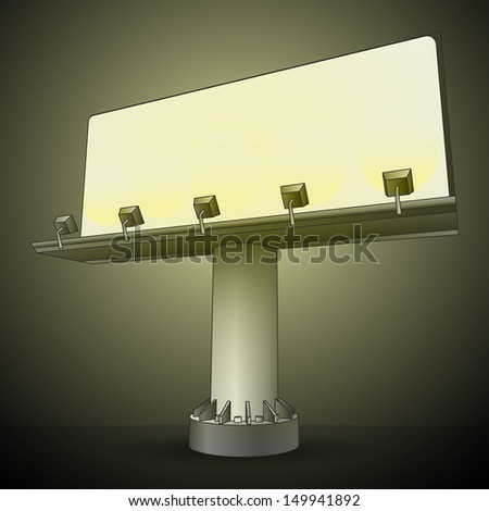 right perspective billboard in the night vector illustration - stock vector