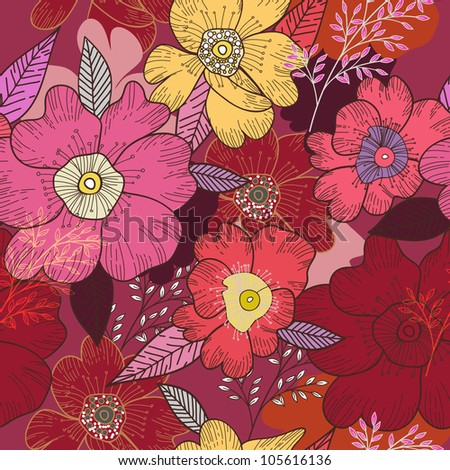 right seamless texture with flowers - stock vector