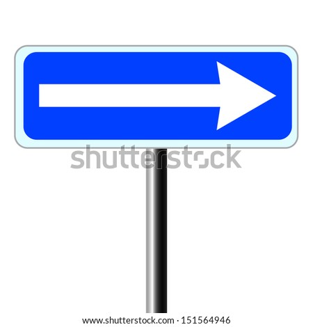 Right traffic route only direction sign turn pointer - stock vector