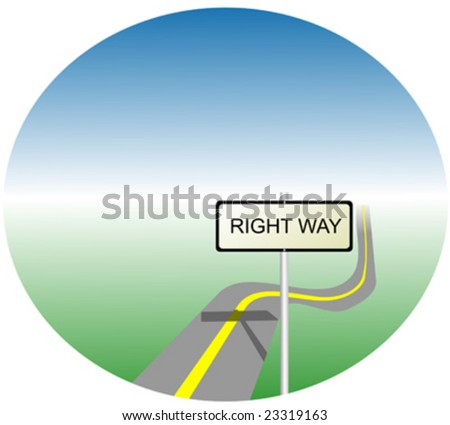 Right way highway with yellow line - stock vector