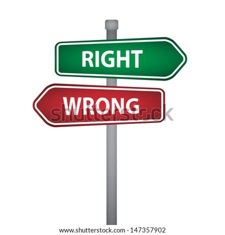 right wrong pillar - stock vector