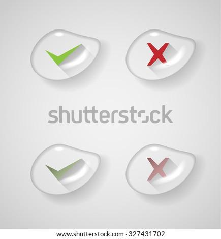 right, wrong sign symbol set inside watter drop - stock vector
