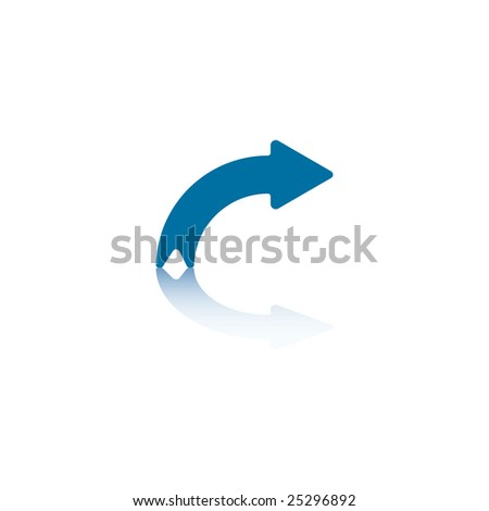 Rightwards Curved Arrow With Reflection on Bottom Plane - stock vector
