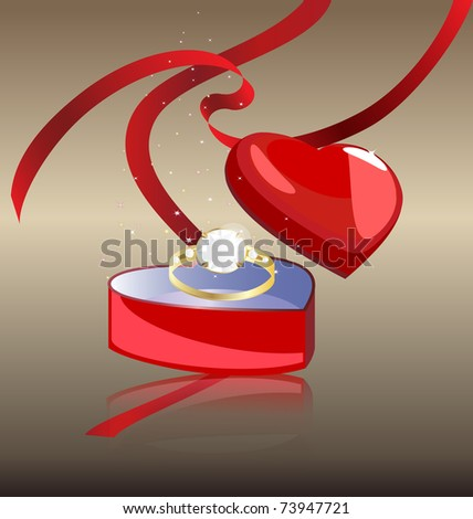 ring in the box - stock vector