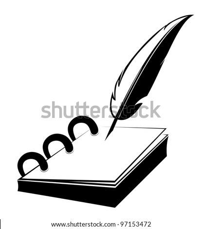 Ring notepad with quill in vector design - stock vector