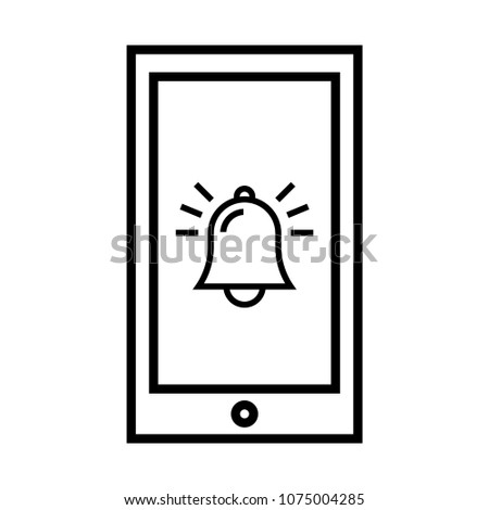 Ring Symbol Mobile Phone Bell Outline Stock Vector 1075004285