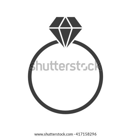 ring with diamond black icon - stock vector