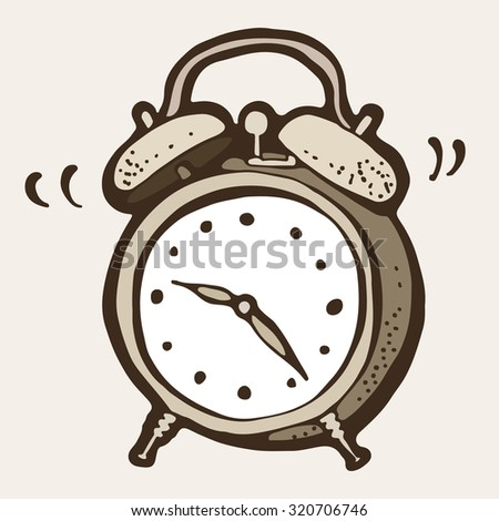 Ringing alarm clock drawing, retro illustration - stock vector
