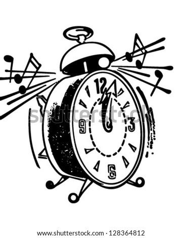 Ringing Alarm Clock - Retro Clipart Illustration - stock vector