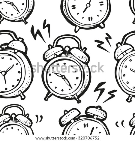 Ringing alarm clocks pattern, seamless background from retro alarm clocks - stock vector