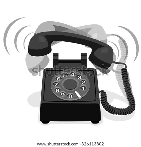 Ringing Black Stationary Phone With Rotary Dial - stock vector