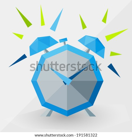 ringing blue alarm clock by triangles, polygon vector illustration - stock vector