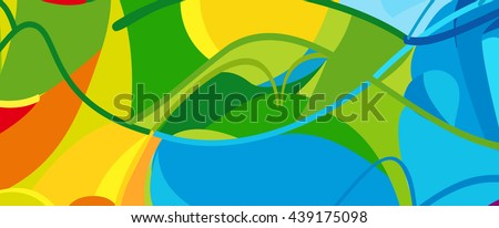 Rio. 2016 Brazil Games abstract colorful pattern. Summer of athletic games 2018 - Green, orange, yellow, blue. Paralympic. Disabled activity Sport Games. Brazilian Sport background Design advertising