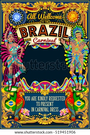 Rio Carnaval people festival poster illustration. Brazil night Show Carnival Party Parade masquerade invite background. Latin dance samba dancer artist crazy event theme carnival mask vector symbol